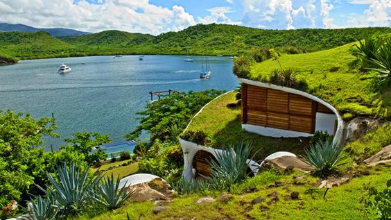 Mount Hartman Bay Estate, Saint George, Grenada #luxurylink -- This looks like The Shire, and at the bottom, you can see Bilbo's home.
