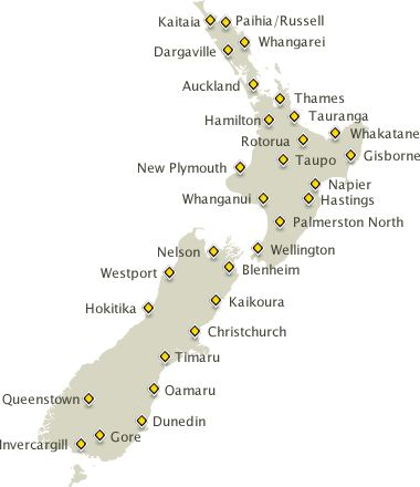 City Map Of New Zealand.New Zealand Map Driving Times