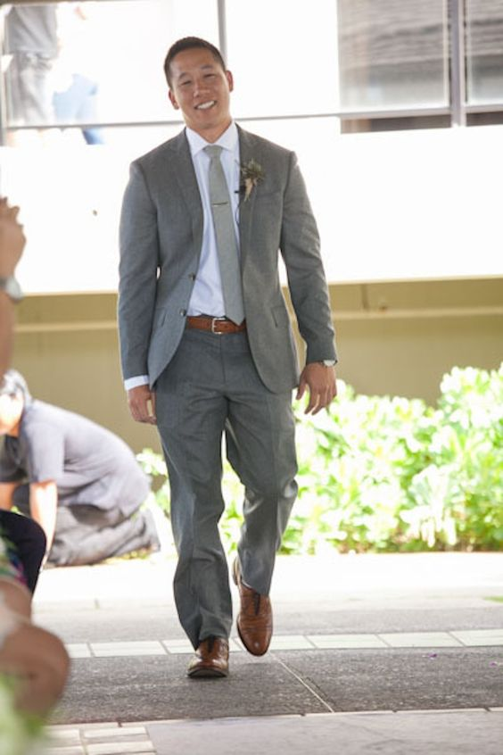 O'ahu Wedding from Kai-Photo Hawaii | Grey suit brown shoes, Grey ...
