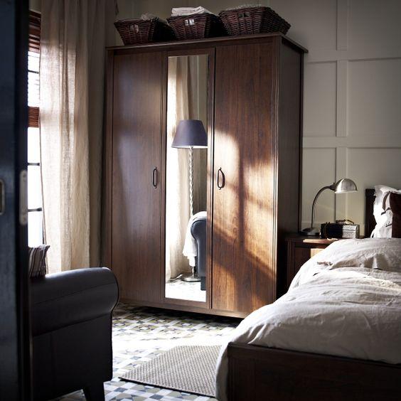 Hidden Bedroom Door Double Bed Bedroom Wooden Accent Wall Bedroom Aesthetically Pleasing Bedroom: BRUSALI Wardrobe With 3 Doors, Brown