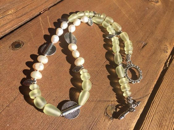 Pale Yellow Bead Necklace, Pale Yellow Bead and Pearl Necklace, African Recycled Glass Necklace, Yellow Glass and Pearl Necklace