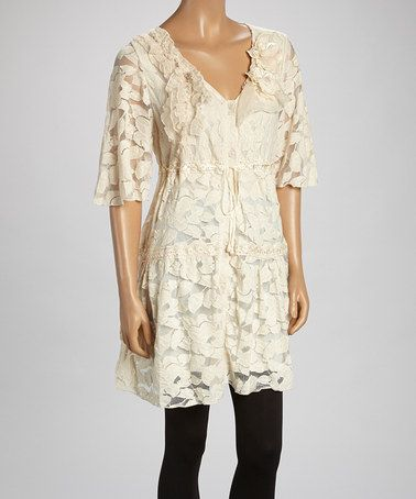 Another great find on #zulily! Caramel Sheer Flower Linen-Blend Tunic #zulilyfinds