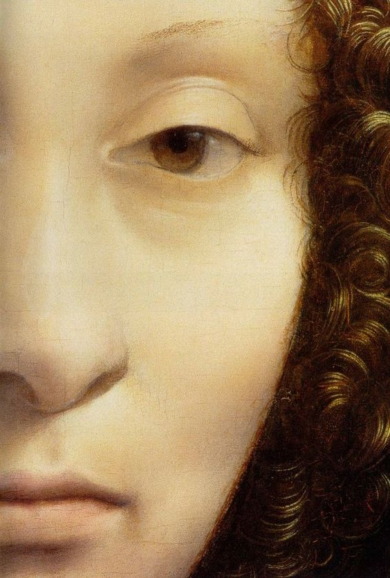 Portrait of Ginevra de' Benci detail, 1474-78, National Gallery of Art Leonardo da Vinci:
