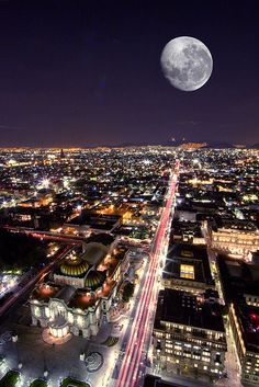 Mexico City at night with a full Moon