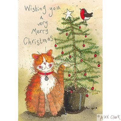 Cat and Christmas Tree by Alex Clark: