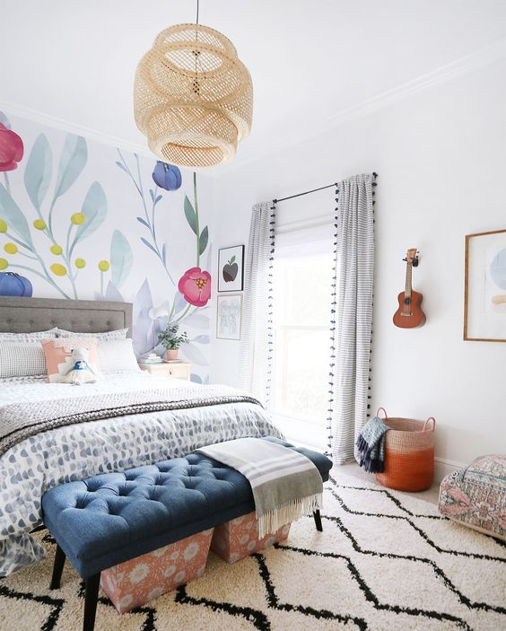 Gorgeous Happy Boho Chic Girls Room | Sunny Circle Studio | Get all the details behind this fun, colorful girls room complete with a floral wallpaper, natural wood furniture, an upholstered headboard, and an organized desk space perfect for your tween or daughter. #girlsroom #wallpaper