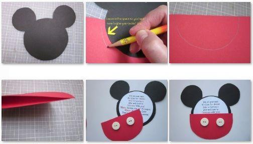 Como hacer una tarjeta de invitacion de Mickey Mouse