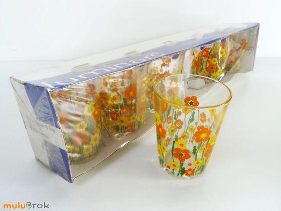 Vaisselle Vintage ... Verres Luminarc Fleurs Oranges et jaunes ... www.muluBrok.fr ...