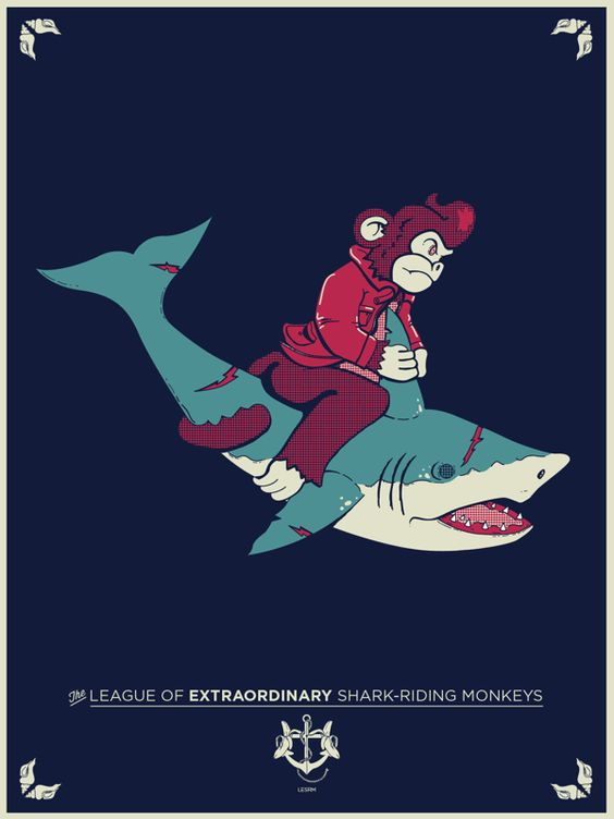 I know it's just a drawing, but a monkey riding a shark is a special kind of awesome.: