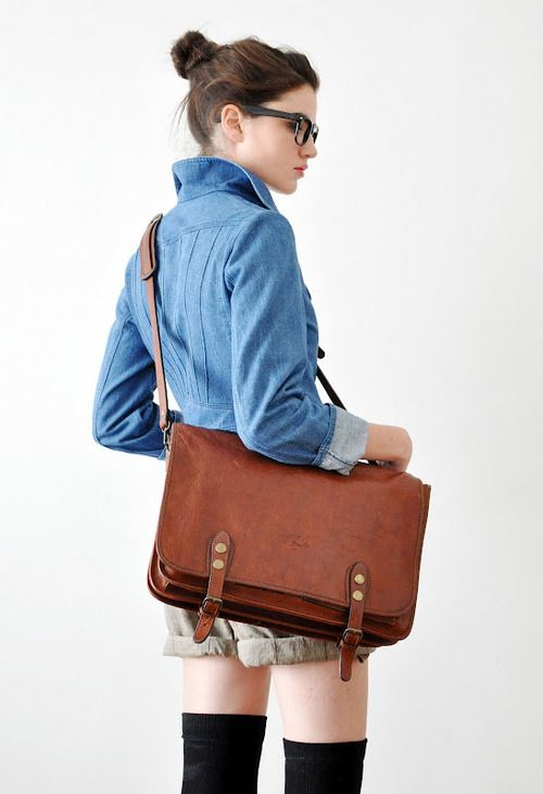 :: school girl chic ::: Leather Satchel, Thigh High, Leather Messenger Bags, Work Style, Leather Bags, Style Fashion