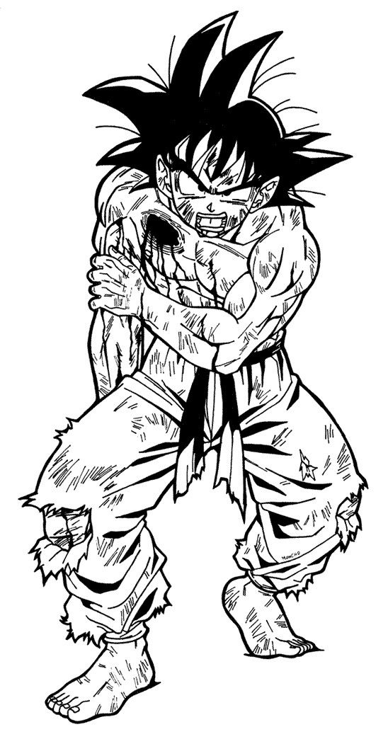 Goku Injured 02 By Moncho M89 Dragon Ball Z Drawings Art