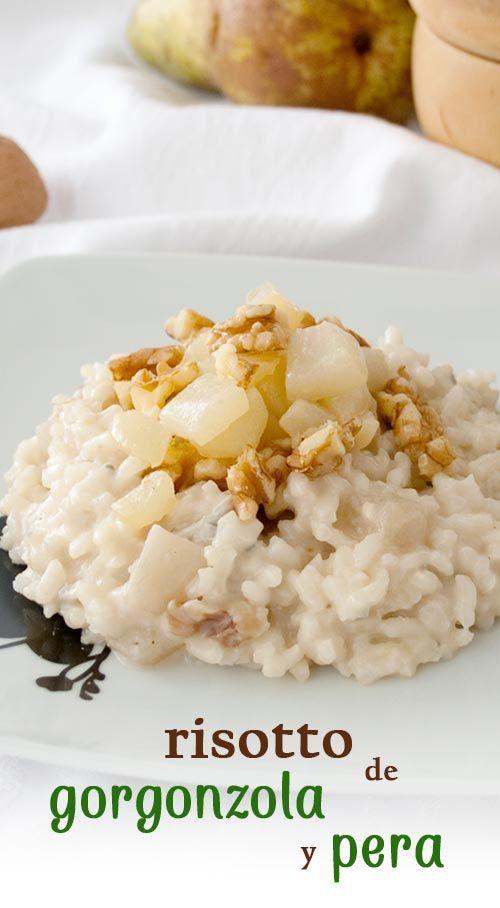 Receta paso a paso para preparar un delicioso risotto con queso gorgonzola y pera.