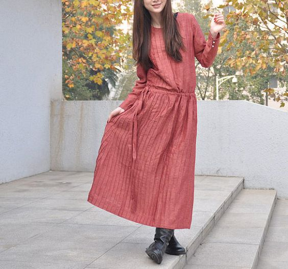 Linen Maxi Trench Coat Dress in Light Red  Custom by camelliatune, $79.00