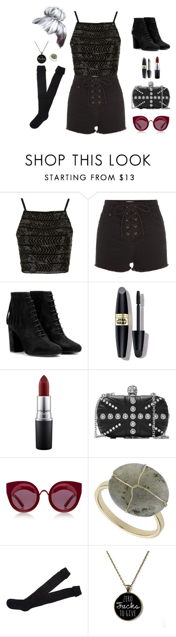 """Untitled #93"" by resilient-tophat ❤ liked on Polyvore featuring Topshop, Yves Saint Laurent, Max Factor, MAC Cosmetics, Alexander McQueen, House of Holland and KEEP ME"