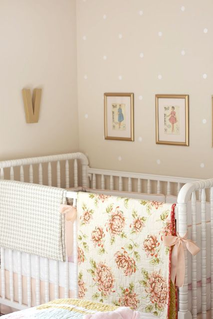 love the dotted wall...roost   marissa waddell interiors: violet's sweet-as-sugar nursery, wallpaper