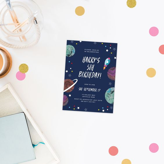 space theme birthday invitations rocket ship stars solar system – Birthday Invitations Perth