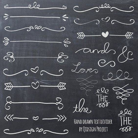 Hand drawn chalk doodle text divider swirly clip by qidsignproject, $3.00