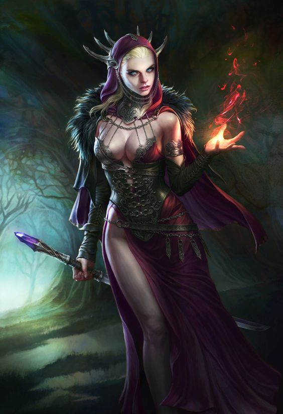 Fire of witch Picture  (2d, illustration, fantasy, witch, concept art, woman, sorceress, magic):