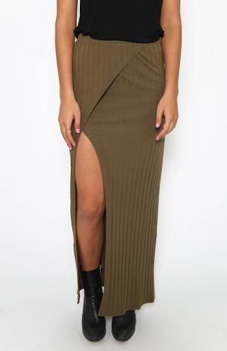 Wrap Over Maxi Skirt - Khaki | MAXI SKIRTS | Pinterest