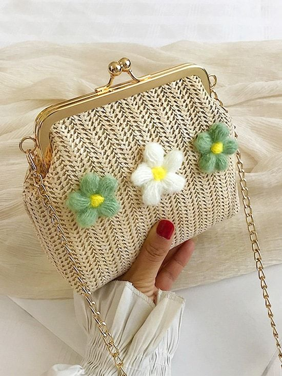 Flower Design Knitted Crossbody Bag Street Fashion In 2019