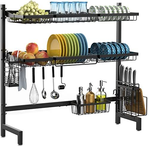 New Over Sink Dish Drying Rack Ispecle 2 Tier Large Premium 201 Stainless Steel Dish Rack Utensil Holder Hooks Stable Bend Foot Kitchen Kitchen Supplies Sto In 2020 Dish Rack Drying Kitchen