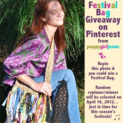 Festival Bag Giveaway for Pinterest users! We are so excited about Coachella and the upcoming festival season that we are giving away a Festival Bag. Repin this photo and you can win a natural Festival Bag from Poppy Girl Jeans. Random winner will be selected from all repins between now and April 16, 2012. www.poppygirljeans.com #giveaway #handbag #bag #purse #promotion #festivals #boho #hippie #gypsy