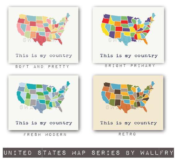 Large world map print SET OF 2 map prints. USA map and world map ...