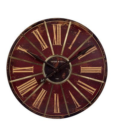 Another great find on #zulily! Red Distressed Roman Numeral Wall Clock #zulilyfinds