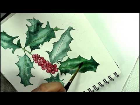 Watercolor Holly And Red Berries Painting Tutorial Youtube
