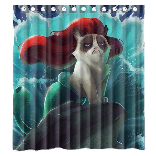Curtains Ideas ariel shower curtain : Custom Grumpy Cat of Little Mermaid Waterproof Polyester Fabric ...