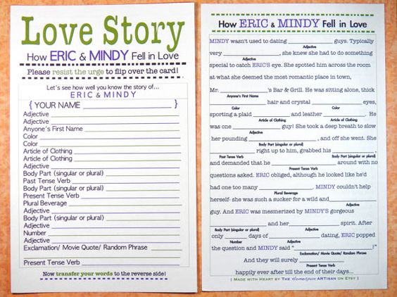 Funny Bridal Shower Mad Lib / Love Story Bachelorette Game