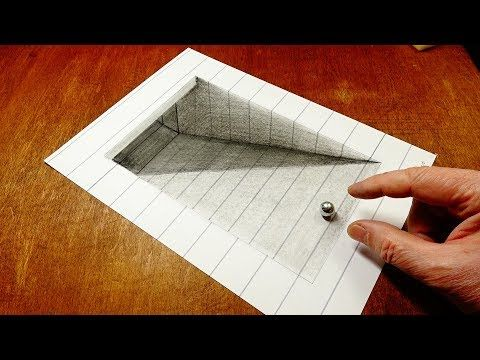 Drawing 3d Tunnel Trick Art On Lined Paper By Vamos Youtube