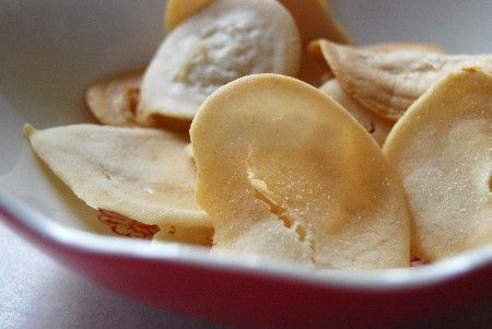 Rice Chips (corn and gluten free)    What you need:        1/4 c. white rice flour      1/4 c. brown rice flour      1 T. oil      3/4 c. water       salt  Mix flours and oil together, add a pinch of salt and water. Drop by spoonfuls onto greased cookie sheet. Sprinkle with salt, bake @400F for 15 minutes, flipping 1/2way through.