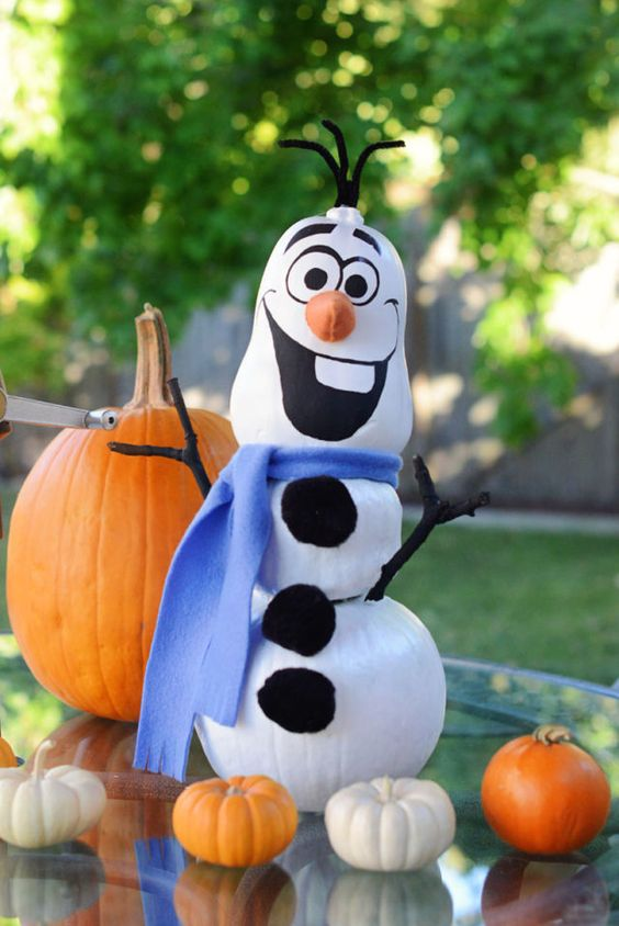 Frozen's happy-go-lucky, sun-loving sidekick just wants a warm hug. And in pumpkin form, he's got no fear of melting. (Rotting, yes. But not melting.) See more at The Bubbly Bay » - CountryLiving.com