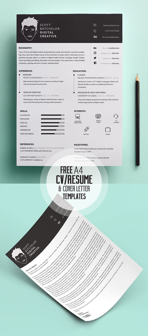 Free Simple Resume Template Print Ready Designs Pinterest - interests on resume