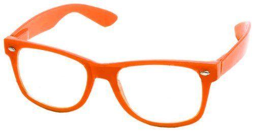 New Glossy Orange Wayfarer Nerd Glasses Clear Lens Optical Quality . Save 80 Off!. $4.99