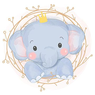Cute Baby Elephant Illustration Zoo Animals Clipart Adorable Animal Png And Vector With Transparent Background For Free Download Baby Animal Drawings Elephant Illustration Baby Elephant