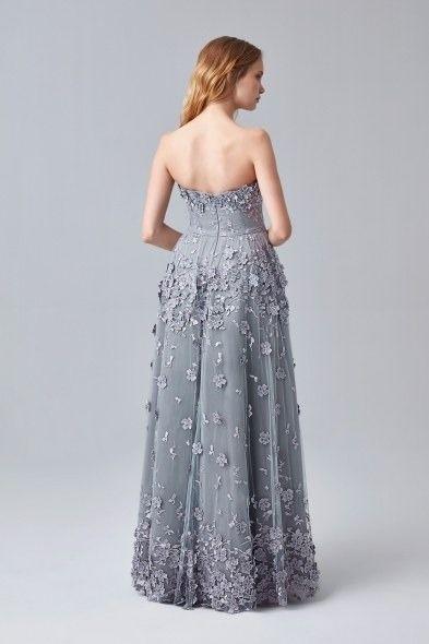 Gri Straplez Cicek Islemeli Uzun Abiye Elbise Elbise The Dress Resmi Elbise