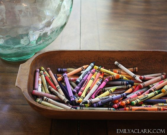 Dough Bowl for crayons. Love it. They're going to be out (it's inevitable). Why not let them have their own pretty house? ;) via Emily Clark