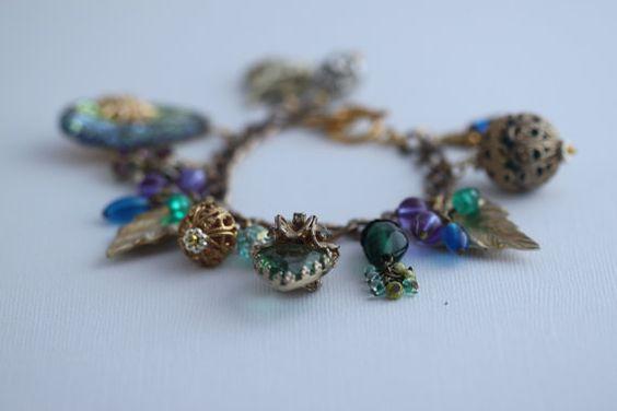 Upcycled Vintage Charm Bracelet OOAK by kit313kat on Etsy, $85.00