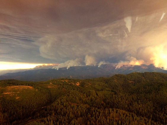 A massive smoke plume from the Table Mountain Fire (Washington state). Taken by a Wenatchee Rappel Crew en route to another fire.