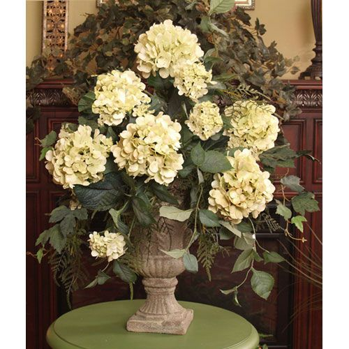 Light Green Hydrangeas With Fern In Grecian Vase Floral Home Decor Florals: Arrangements F