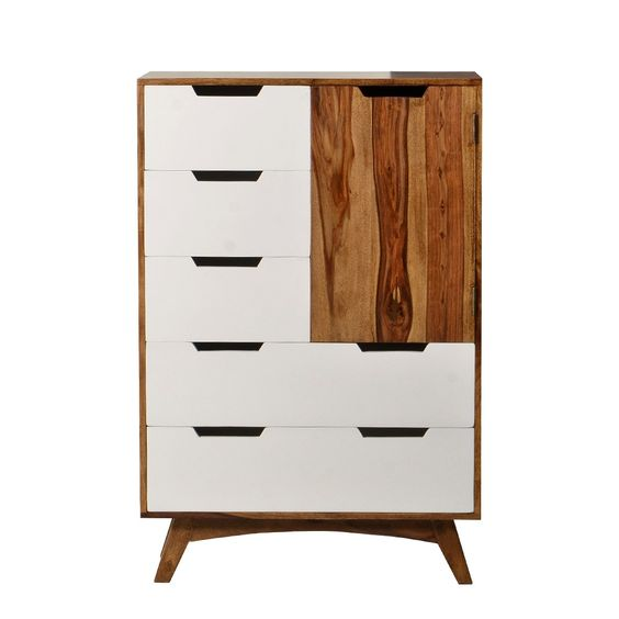 Retro Kommode Sheesham Braun Weiß Grissini retro furniture - retro wohnzimmer weis
