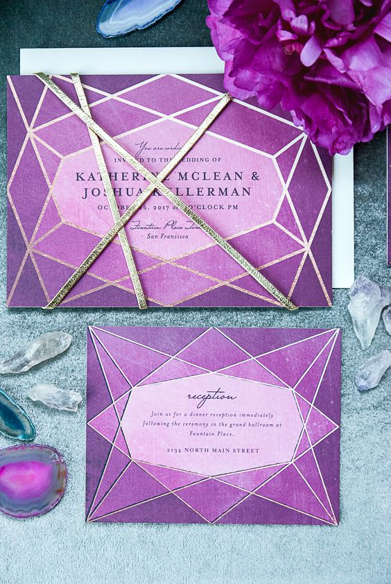 Set the tone for your upcoming wedding with a jeweled inspired art deco wedding invitation suite by Minted.