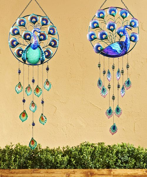 Take a look at the Iron & Glass Peacock Round Wind Chime Set on #zulily today!