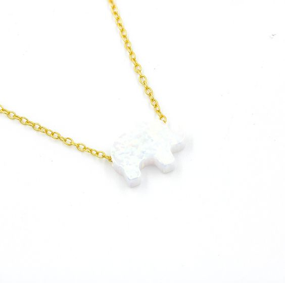 ZDN1034-WOP-GD 925 STERLING SILVER GOLD PLATE WHITE OPAL ELEPHANT NECKLACE