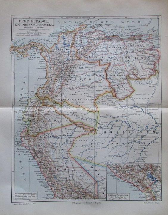 PERU ECUADOR KOLUMBIEN 1896 alte Landkarte Karte Antique Map Lithographie