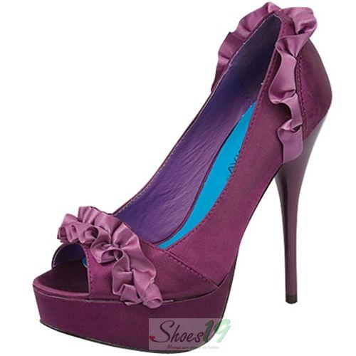 Wild Diva Lorane-40 Purple Ruffle Peep Toe Pumps - Round Toe Classic Pumps Clubbing Wedding Prom Fashion Style Bridal Interview Work Graduation $23.25