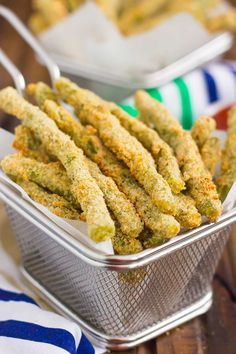 These Baked Parmesan Green Bean Fries are coated with a mixture of Parmesan cheese and spices, and then baked until golden. Crispy, crunchy, and full of flavor, these healthier fries make the perfect appetizer or easy side dish!
