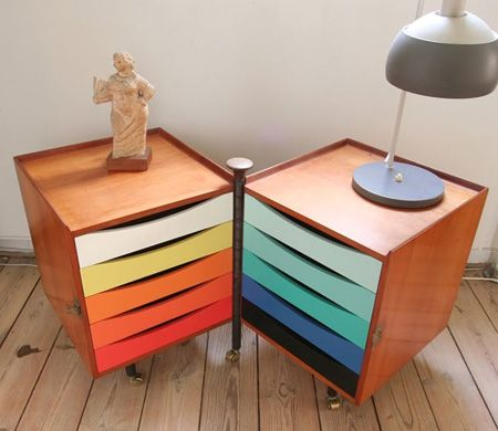 DIY Multicoloured Storage | House & Home   -  refurbish old furniture with paint by painting drawer fronts in ombre color combo